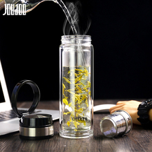 JOUDOO 420ML Business Water Bottle Glass with Stainless Steel Tea Infuser Filter Double Wall Sport Tumbler 35