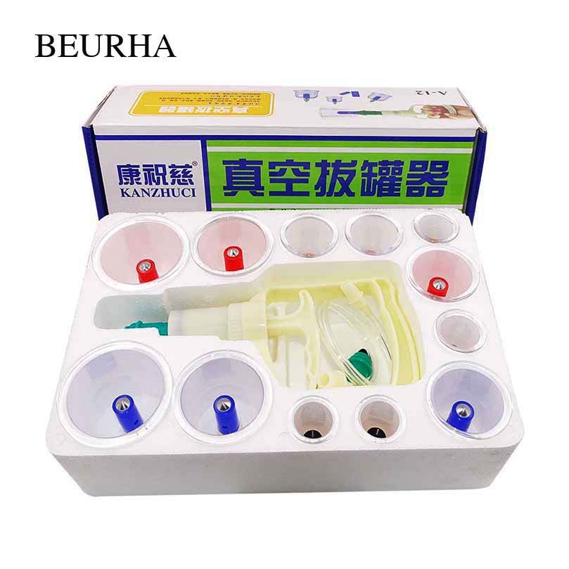 Chinese cupping therapy medical vacuum cupping set 12 pieces cuppings Family Body Massage Therapy with Gift Box Health Care tool 6 magnets point therapy cupping pratical 12 body cupping set chinese medicine home device m01018