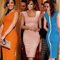 2015 Europa Mulheres Vestidos de Verão Estrela Mesmo Parágrafo Vestido Bandage Mangas Compridas Zipper Lápis Desgaste do Trabalho Roupas Cor de Rosa Azul Preto