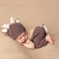 0 6M Newborn Photography Props Cute Dear Suits Set Baby Photos Toddler Infant Boy Girl Hat