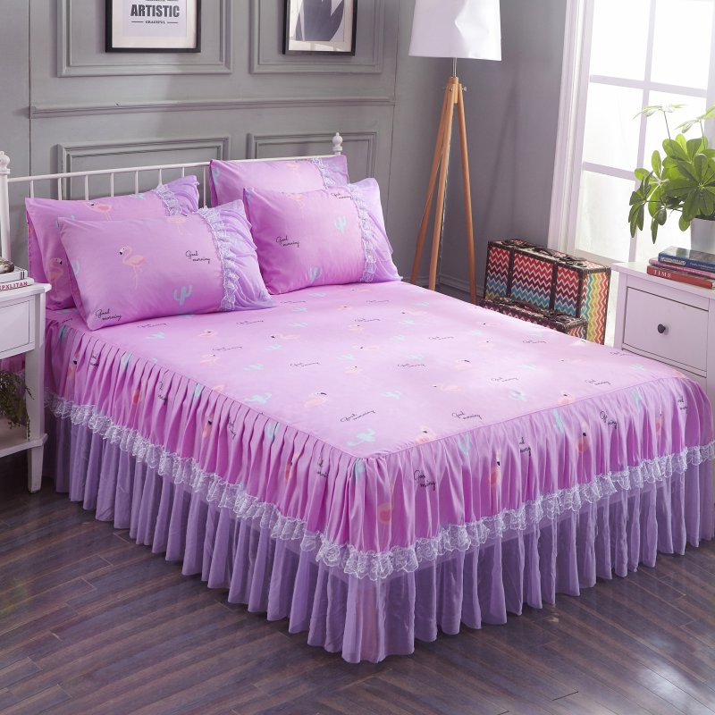 Purple Bed Skirt Ruffled Bedspread Pink Flamingos Print Bedding With Ruffles Covers And