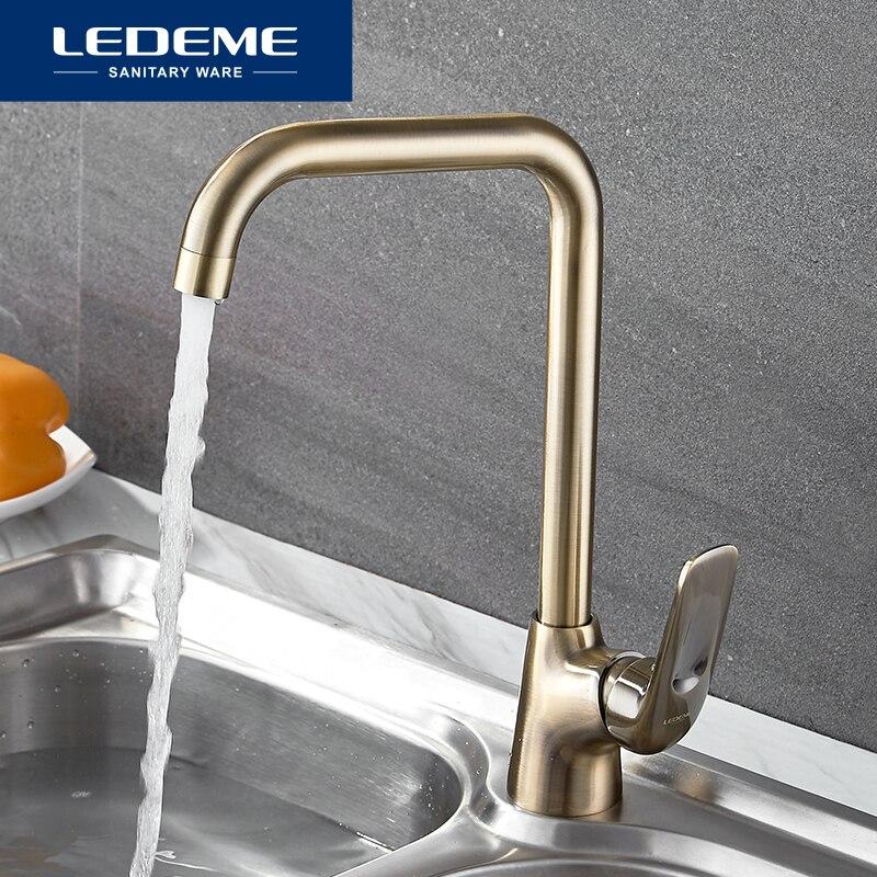 LEDEME Kitchen Faucets Brass Single Handle Single Hole Finish 360 Swivel Mixers Taps Kitchen Tap Sink