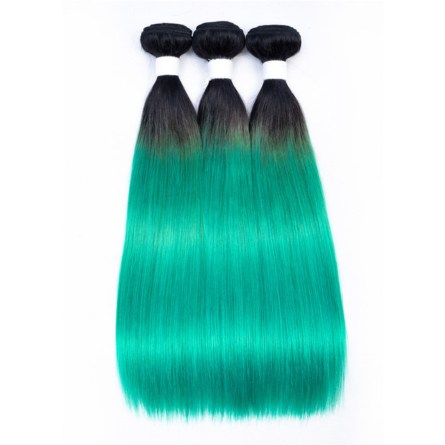 Light Black Green Colored Natural Hair Straight Hairstyle Peruvian