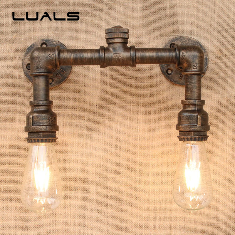 Loft Retro Wall Light Simple Pipe Lamp Cafe Bar Industrial Style Edison Wall Lights Creative Water Pipes Indoor Deco Lighting vintage industrial edison glass bottle wall lamp loft retro wall light bedroom aisle cafe bar store hall bedside hall lighting