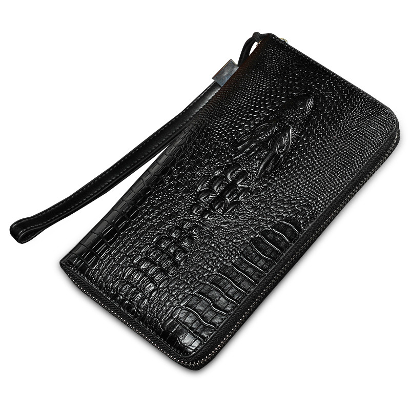 2016 New Fashion Designer High Quality Large Capacity Genuine Leather Men Clutch Bag Men's Antitheft Wristlet Black Long Wallets