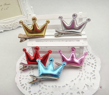 2016 New arrival PU leather Tiaras hair clips for baby  girls crown design hairpins 6 colors 20pcs/lot