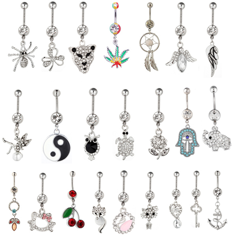 15Pslot Gem Mixed Different Design Belly Button Rings -9966