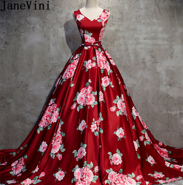 Us 188 9 45 Off Janevini Elegant V Neck Women Floral Dresses For A Wedding Court Train Flowers Bow Wedding Guest Bridesmaid Dress Floral Print In