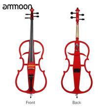Ammoon 4/4 Violoncello цельная деревянная электрическая Виолончель эбеновая фурнитура в стиле 1 с высококачественным Тюнером для наушников Gig Bag