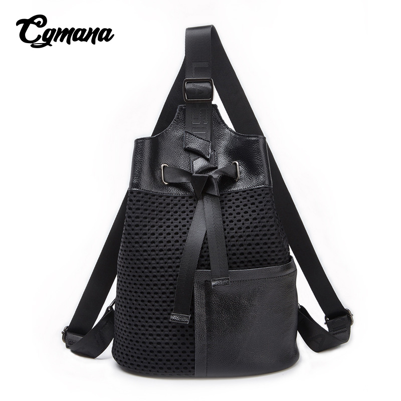 CGMANA Backpacks Female 2018 Fashion Mesh Women Travel Backpacks Large Capacity Soft Leather Patchwork School Bags