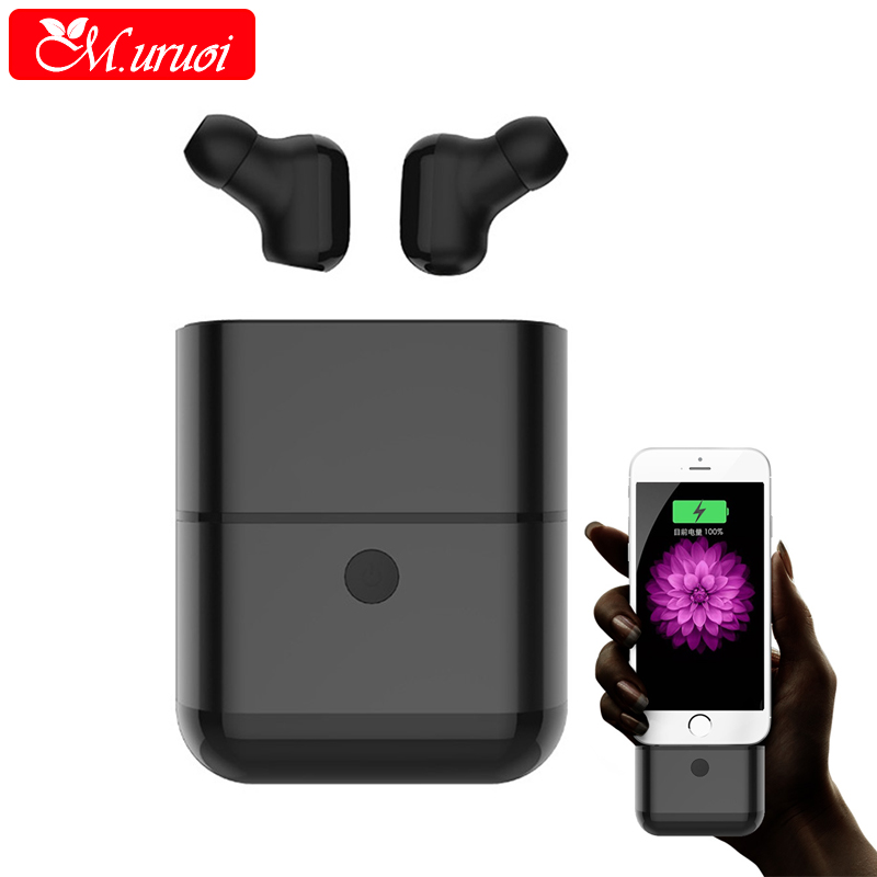 M.uruoi Bluetooth 4.2 Earbuds Waterproof Bluetooth Headset Stereo/Mono Earphone Handsfree With Mic Wireless Earbuds for Phone hlton portable wireless bluetooth earphone handsfree mini headset stereo earbuds car fast charger with mic for smartphone pc