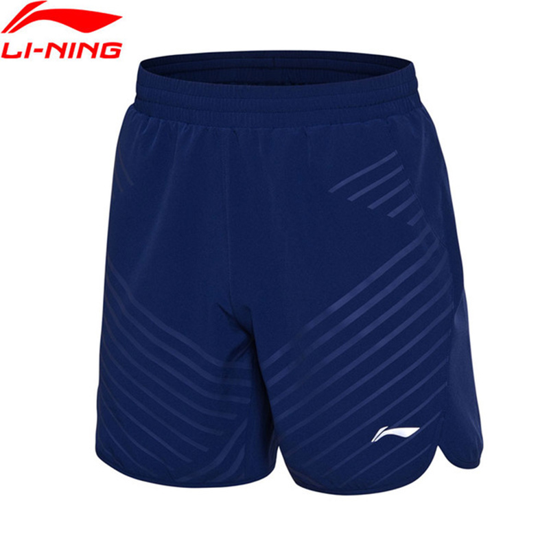 Li-Ning 2018 Men Badminton Competition Shorts Regular Fit 91.1% Polyester 8.9% Spandex Li Ning Breathable Sport Shorts AAPN033