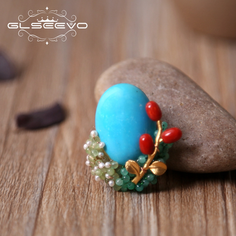 GLSEEVO Luxury Natural Turquoise Brooch Bamboo Coral Brooch Pins Pearl Brooches For Women Dual Use Designer