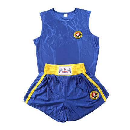 Blue&Red Martial Arts Tai Chi Sanda Suit Competition Kick Boxing MMA Muay Thai Shorts Clothing Sanshou Competition Suits