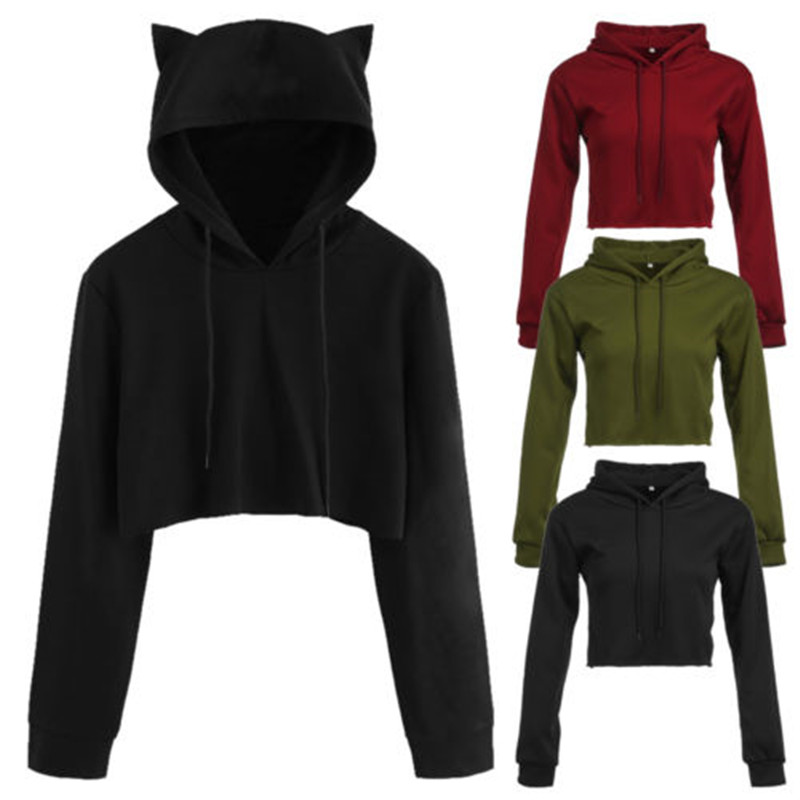 NEW Style Women Cat Ear Hoodie Jumper Casual Pullovers Cropped  Sweat Blouses Casual Short Hooded Sweatshirt