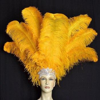 orange feather plume wedding performing art decoration  50pcs  orange ostrich feathers 16-18inches/40-45cm  ostrich plumage