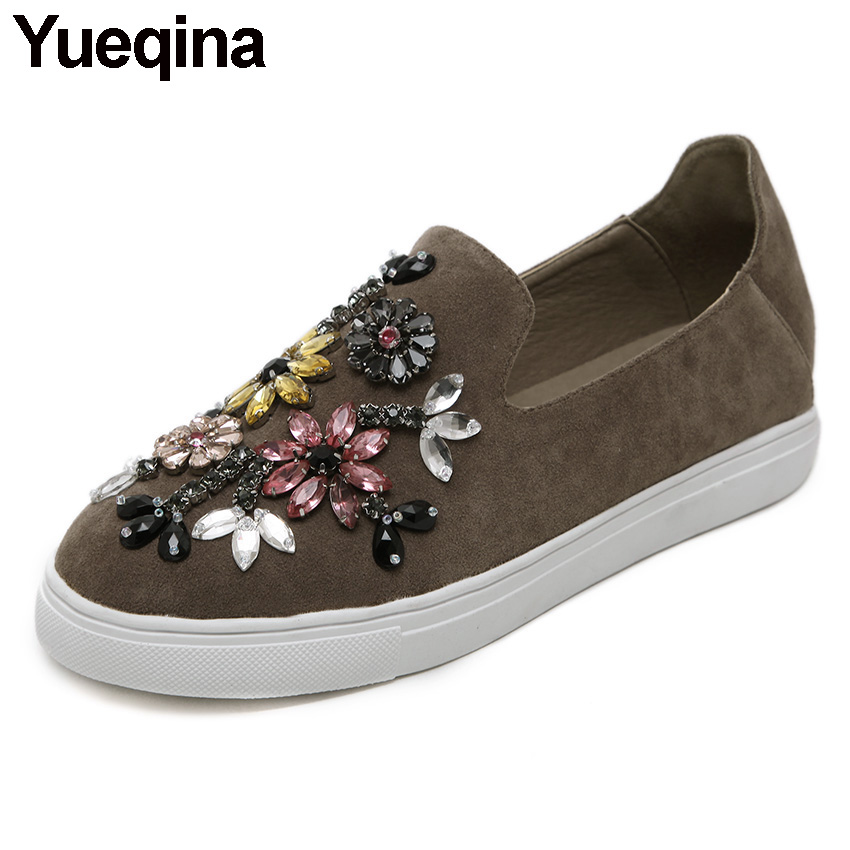 Yueqina Spring Autumn Women Casual Shoes Crystal Flats Espadrilles Loafer Shoes Women comfortable Slip On Shoes Gray/Black/Khaki women shoes flats female shoes slip on rabbit fur autumn winter casual loafers flock short plush plus size 43 black khaki gray