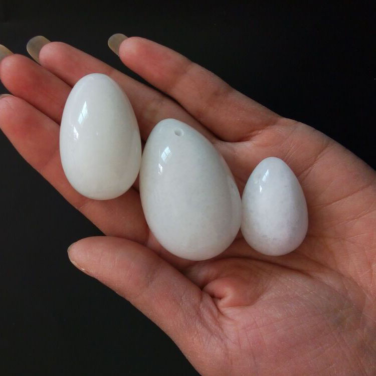 3 pcs Drilled White Jade Yoni Egg Pelvic Kegel Exercise Tightening Vaginal Muscle Ben Wa Jade Eggs for Women jade egg natural unakite yoni egg crystal sphere for kegel exercise pelvic floor muscle vaginal exercise ben wa ball