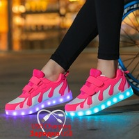 2019 Tenis Led Shoes Glowing Sneakers for Boys and Girls Light Up Shoes for Kids Led Luminous Shoes Size 28 40 tenis infantil