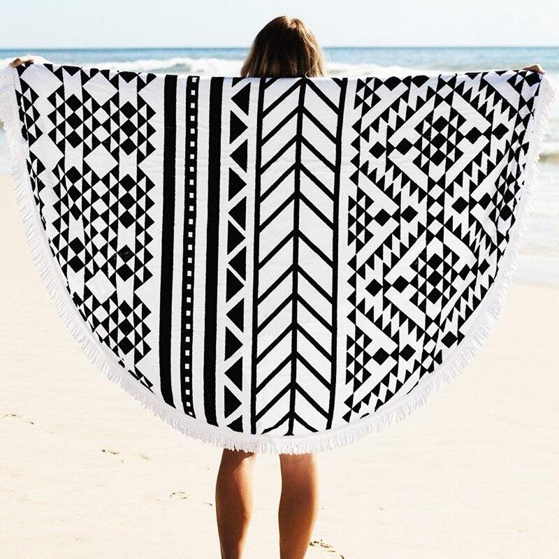 Serviette de plage En Coton Ronde Bohême Imprimé Gland Tricoté Plage tapis doux deplage microfibre serviette tapis de plage mer couverture tapis de sable