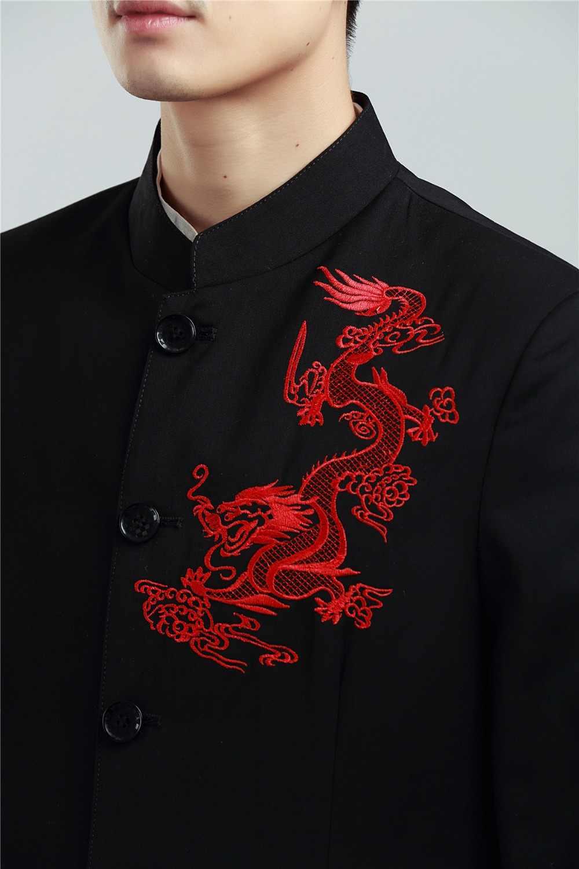 Шанхай история черный Винтаж Китайский Мужской Дракон вышивка куртка брюки наборы длинный рукав Тан костюм с драконом для мужчин