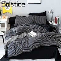 Solstice Home Textile Black White Stripe Bedding Set Girl Teen Boys Bedclothes Duvet Cover Pillowcase Bed Sheet King Twin 3 4Pcs