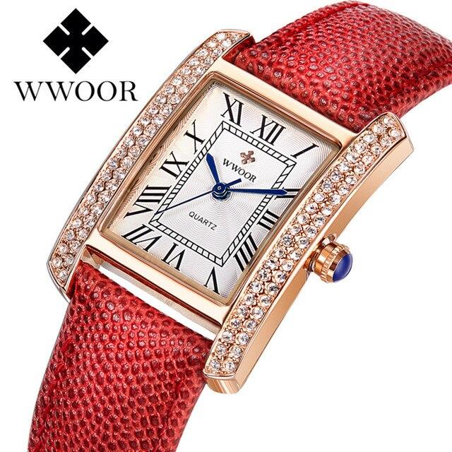Small Women Watches Brand WWOOR Quartz Ladies Watch Women 2016 Leather Clock Waterproof Female Wristwatches Square Montre Femme