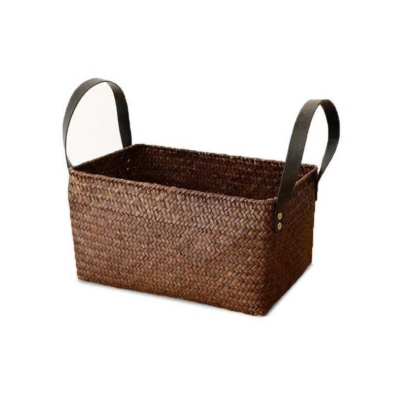 Algas tecido caixa de armazenamento retangular retro rattan bambu cesta de armazenamento caixa de armazenamento do banheiro cesta de acabamento