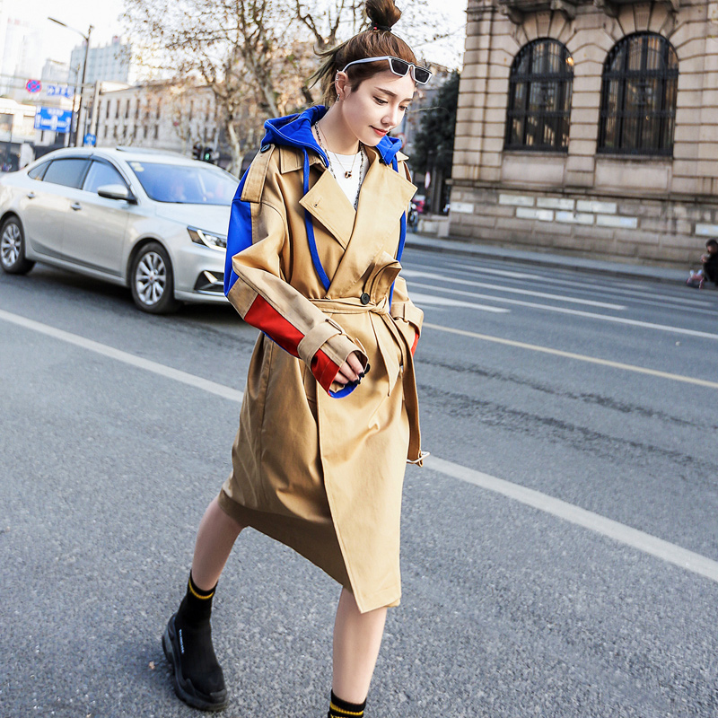 Fashion Streetwear French Milan Style Patchwork hippie Hooded   Trench   coats plus size Oversized Ladies fashion Windbreaker
