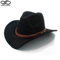 Wool Felt Western Cowboy Hat For Womem Men Wide Brim Cowgirl Braid Leather Band One Size
