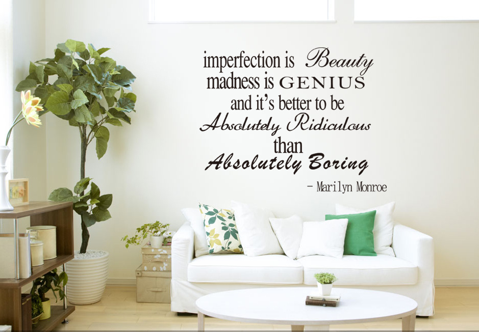 Aw9143 Imperfection Is Beatuy Art Characters Wall Stickers The Best And Most Beautiful Thing