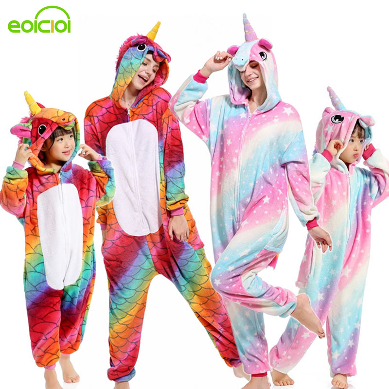 16 Style Flannel Animal Family Matching Pajamas Outfits Winter Hooded Pegasus Unicorn Panda Pyjamas Onesie Mother Kids Sleepwear
