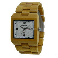 Men S Bamboo Wood Wristwatch Time Date Quartz Bewell Wood Watch Bangle Gift