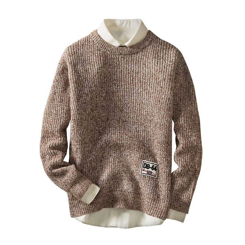 Men Autumn Knitted Sweaters Round Neck Polyester Casual Knitwear Pullovers Solid Color Matching Sweater Embroidery Logo