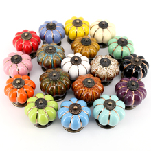 1x Ceramic Pumpkin Handle Pull Knobs Cabinet Door Cupboard Drawer Locker for Home Kitchen Decoration