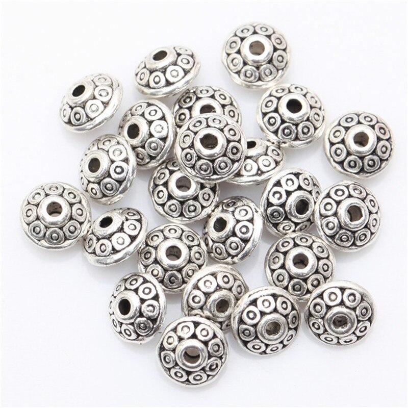 100 pc alliage modèle entretoise perles 6mm Antique métal or cône modèle entretoise perles tibétain argent perles pour la fabrication de bijoux