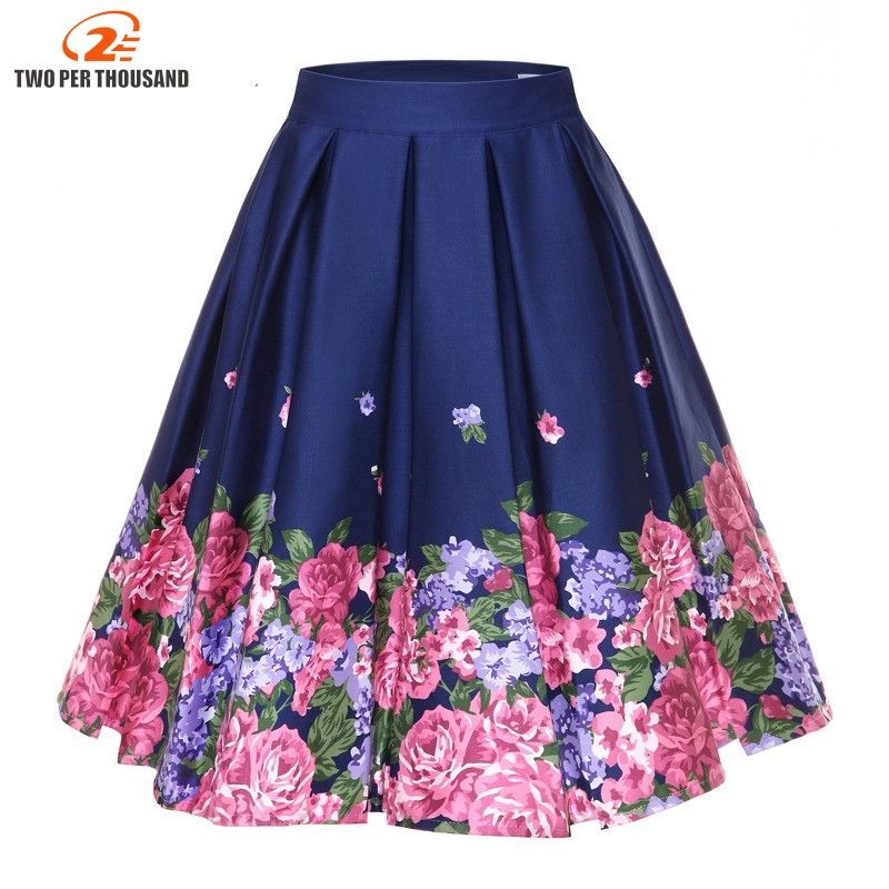 S 4XL Big Size Retro Floral Print Vintage Pleated Skirts Womens High Waist Plus Size Midi Cotton Summer 3XL Swing Skirt-in Skirts from Women's Clothing on AliExpress - 11.11_Double 11_Singles' Day 1