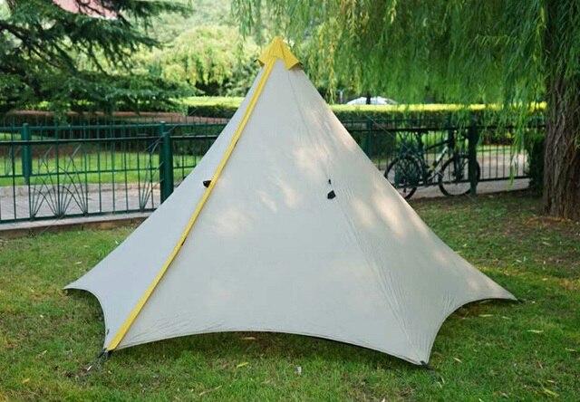 595 г Кемпинг Палатка Сверхлегкий 2-3Person открытый 20D нейлон с обеих сторон силиконовое покрытие бесштоковый Пирамида большая палатка 3 сезон