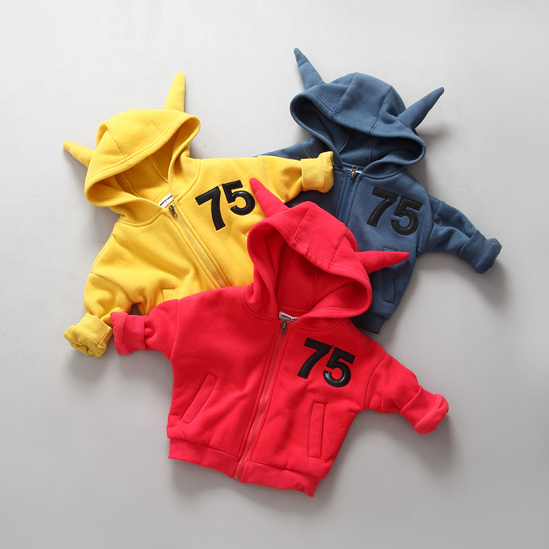 Autumn & Winter Children Blouses Sweater Baby Girl And Kids Boy Letter Funny Hooded Thicked With Velvet Zipper Casual Coat