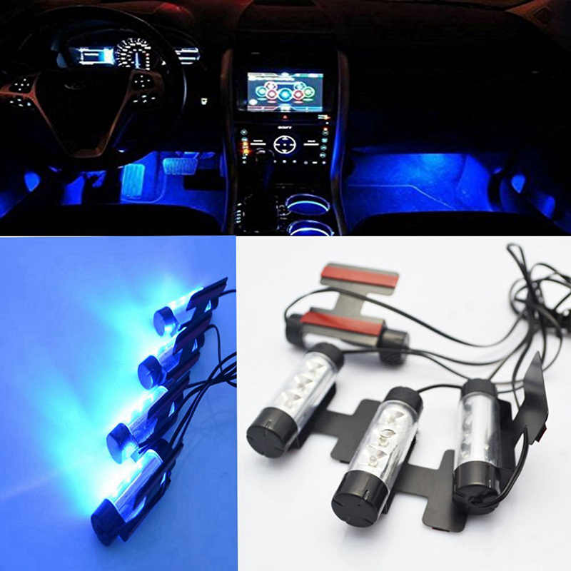 KATUR High Quality Blue 4 in 1 12V 4x 3 LED Auto Foot Car Interior Light Decorative Atmosphere Light Lamp Bulb Car Styling