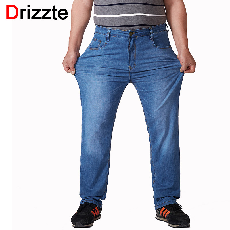 Drizzte Mens Summer Big and Tall Stretch Plus Size 30 To 48 50 52   Jeans   Relax Straight Fit Trousers Pants