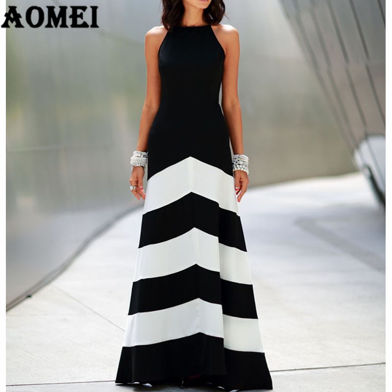 240d0df9e5 Women Black White Wide Stripe Maxi Long Dress Halter Cross Strap Backless  Elegant Lady Party Night Dresses Robes Female Fashion-in Dresses from  Women s ...