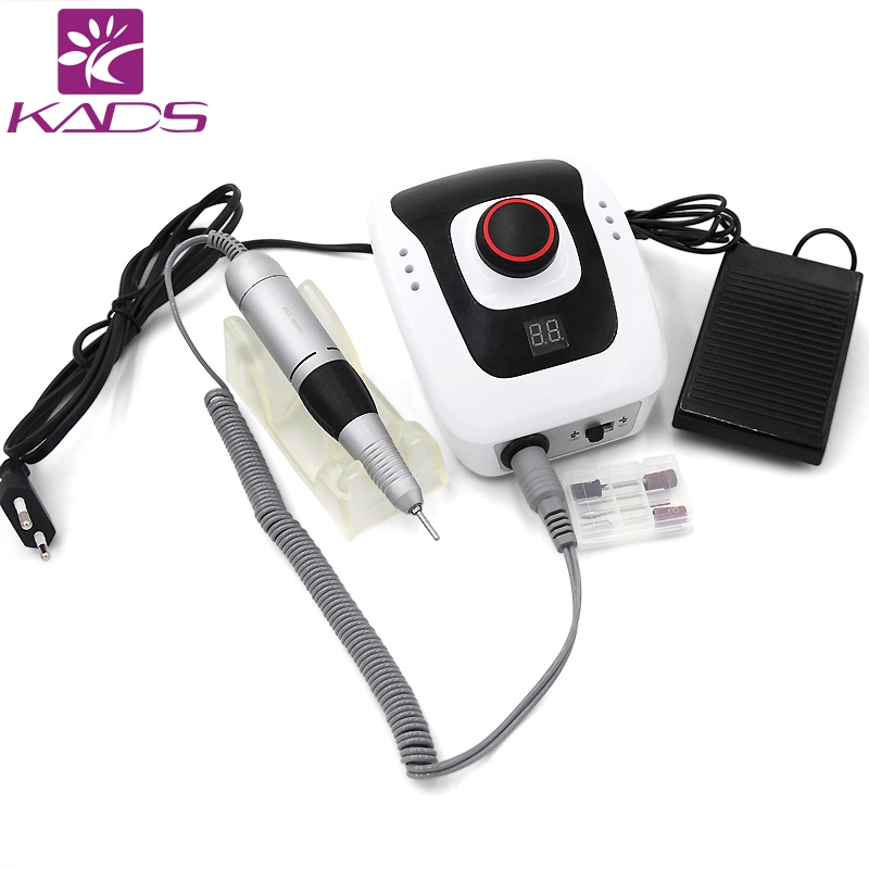 KADS New Arrival 300-35000RPM White Nail Equipment Manicure Pedicure Tools Electric Nail Art Drill Pen Machine Set for Nail Art