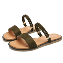 Summer Women's Sandals Flock Leather Flats Heeled Sandals Shoes Woman Casual Open Toe Ankle Strap Female Sandals YY0039 ankle strap cork heeled suede sandals