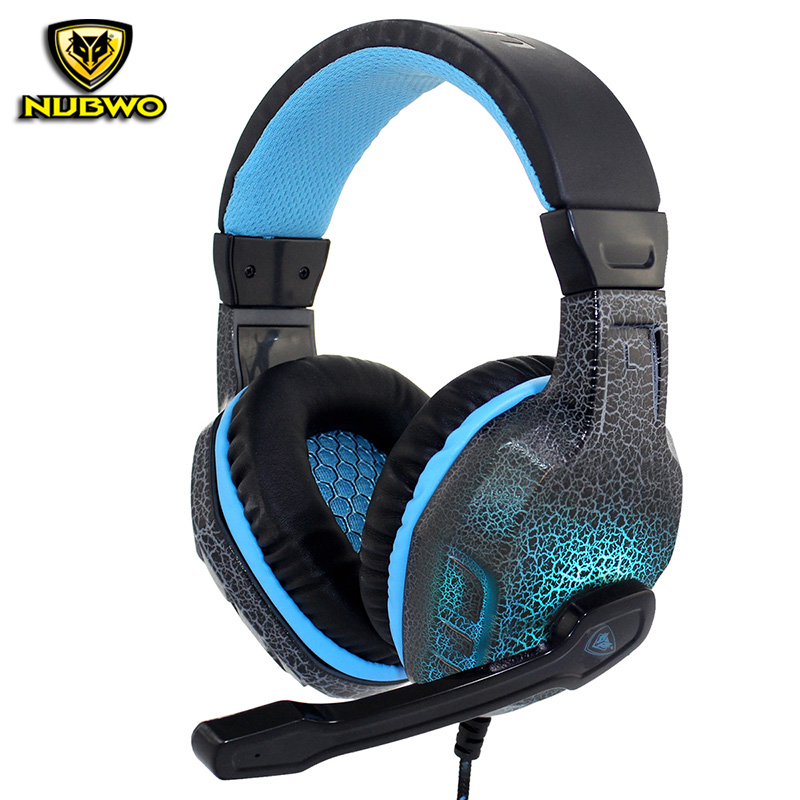 New NUBWO NO-3000 Gaming Headphones Deep Bass Stereo Surround Headband LED Light Gaming Headsets With Microphone For PC Gamer picun c3 rose gold headphones with microphone for girls ps4 gaming headsets for apple iphone se galaxy s8 s7 a5 sony leeco asus