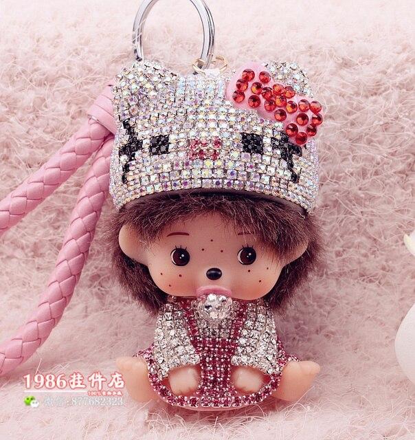 Hello Kitty Monchichi Key Chain Sleutelhanger Strass Keychain Keyring Fluffy Rabbit Ball Pom Pom Women Bag Charm Porte Clef M151