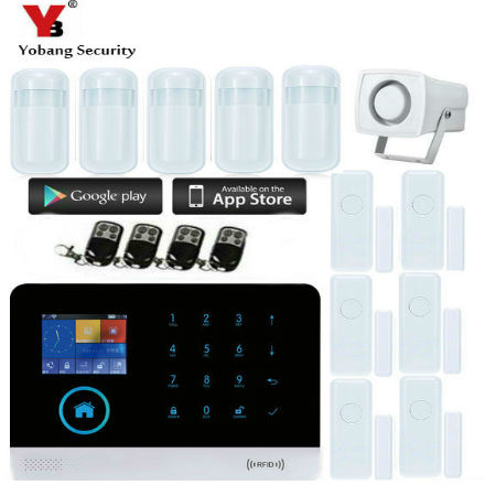 YobangSecurity WIFI GSM GPRS Autodial Home Security Alarm System+iOS App/ Android App Sensor Alarm Security System home yobangsecurity wifi gsm gprs home security alarm system android ios app control door window pir sensor wireless smoke detector