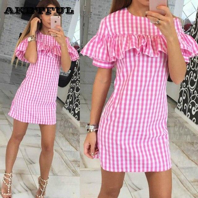 Camisa a cuadros Verano Rosa Roja Playa Vestido de algodón barato de ...