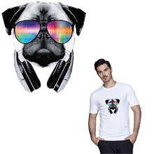 hip-hop glasses dog iron on patches for clothing cool thermal sticker on clothes heat transfer for t-shirt diy accessory parches цена и фото