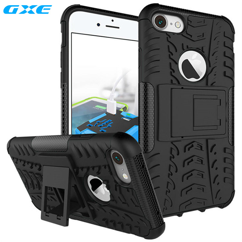 GXE For iPhone 7 Plus 6 6s Shockproof Rugged Armor Case For Samsung Galaxy S8+ S8 Plus Hard PC & TPU Hybrid Kickstand